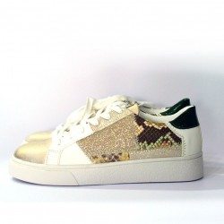 Findlay - Sneakers bianche gold pitonate