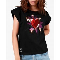 Gio Cellini - T-shirt nera con applicazioni cuore