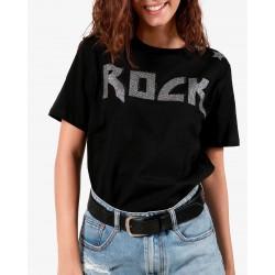 Gio Cellini - T-shirt nera con applicazioni ROCK