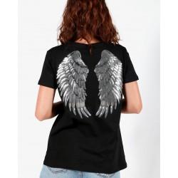 Gio Cellini - T-shirt nera con stampa ali posteriore
