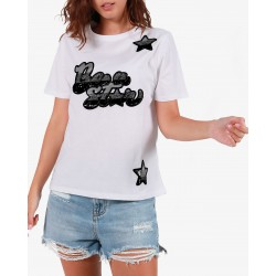 Gio Cellini - T-shirt nera con stampa Be a Star