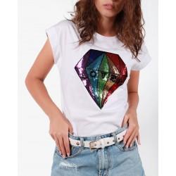 Gio Cellini - T-shirt bianca con applicazione diamante