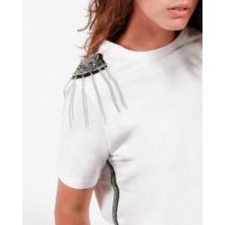 Gio Cellini - T-shirt bianca spalline gioiello