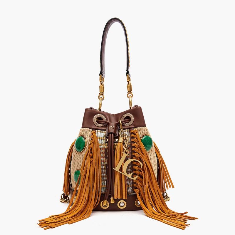 La Carrie - Bag secchiello con frange gialla