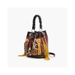 La Carrie - Bag secchiello maculato con frange gialle