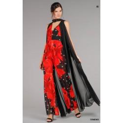 Babylon Collection - Tuta elegante floreale con mantello