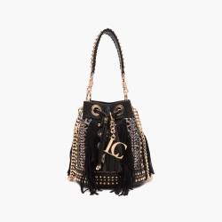 La Carrie - Bag secchiello con frange nero e cavallino