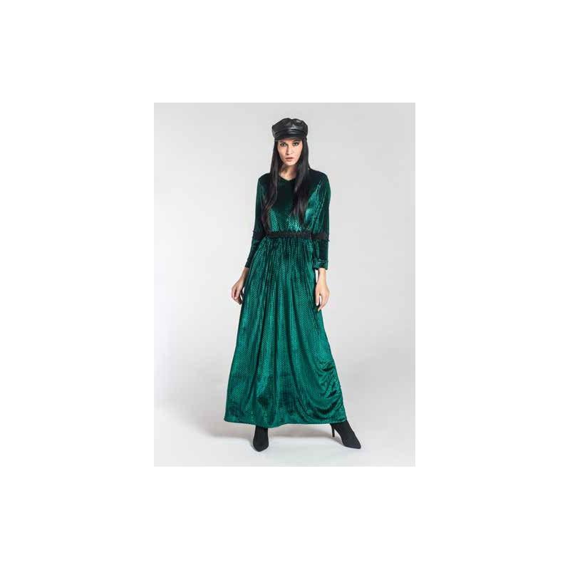 Louxury - Abito lungo verde in velluto