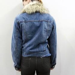PDK -Giubbino corto di jeans con decorazioni e pelliccia - posteriore