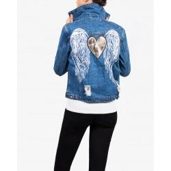 Gio Cellini - Giubbino di jeans cuore con ali