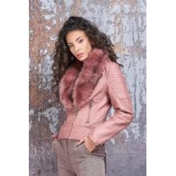 PDK - Chiodo rosa con collo in pelliccia