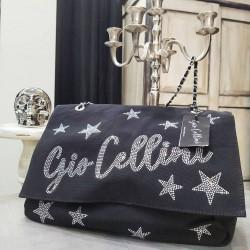 Gio Cellini - Borsa in tessuto nera con stelle
