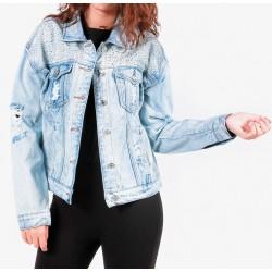 Gio Cellini - Giacca di jeans con strass e strappi