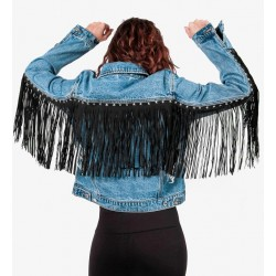 Gio Cellini - Giacca di jeans con frange lunghe e borchie