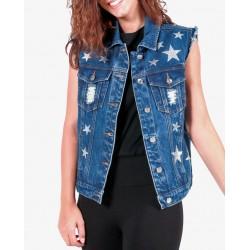 Gio Cellini - Gilet di jeans con stelle e strappi